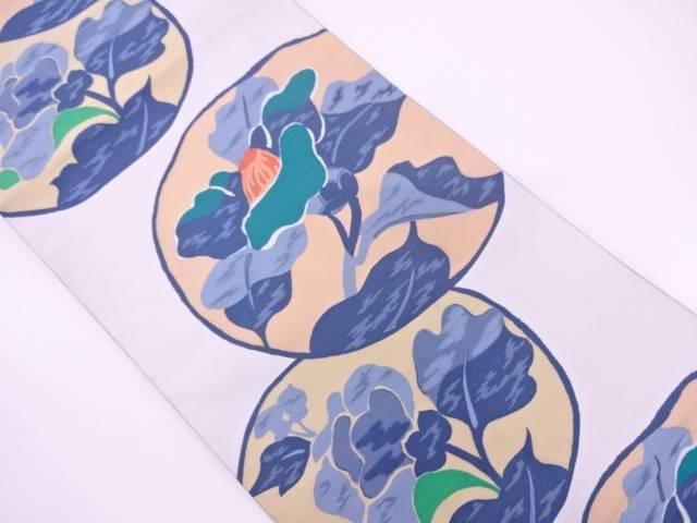 抽象椿模様織出し全通袋帯【リサイクル】【中古】
