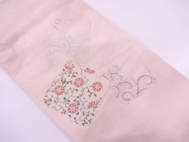 未使用品 破れ色紙に花唐草模様刺繍袋帯【リサイクル】【中古】