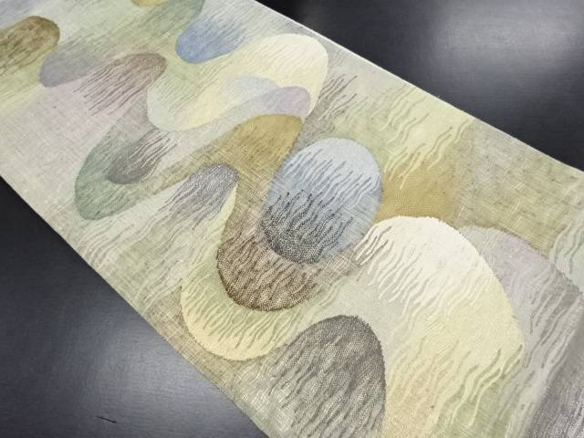 すくい織抽象波模様織り出し袋帯【リサイクル】【中古】