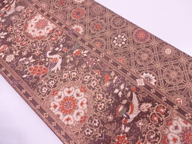 縞に華紋・花鳥模様織出し袋帯【リサイクル】【中古】