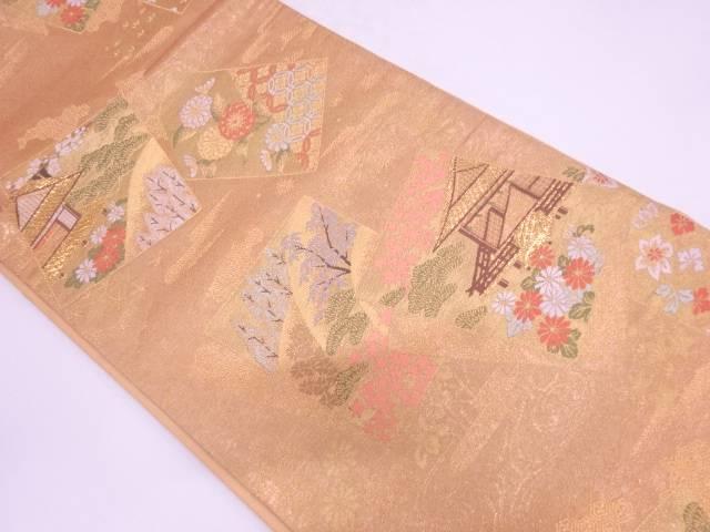 色紙に屋敷風景模様織出し袋帯【リサイクル】【中古】