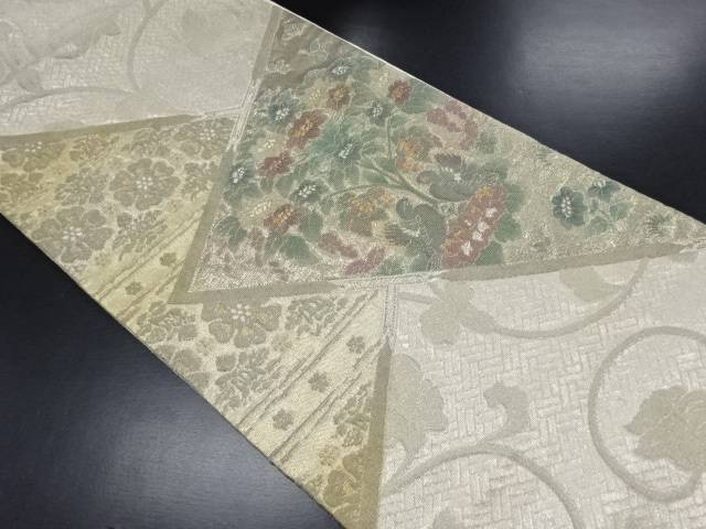 輪奈ビロード色紙に向かい鳥・花紋様織り出し袋帯【リサイクル】【中古】