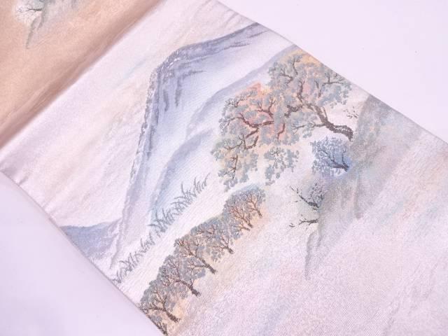 プラチナ箔富士風景模様織出し袋帯【リサイクル】【中古】
