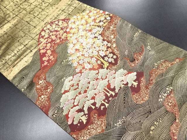 本金松枝梅に桜・楓模様織り出し袋帯【リサイクル】【中古】