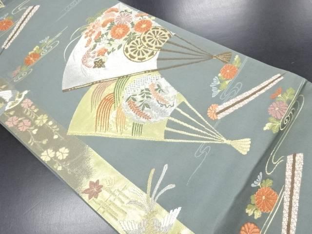 金銀糸扇面に花車・尾長鳥模様織り出し袋帯【リサイクル】【中古】