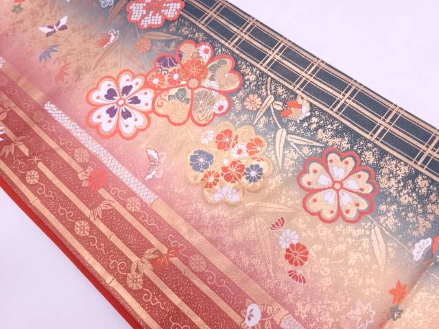 今田機業製 竹笹に花・蝶模様織出し袋帯【リサイクル】【中古】
