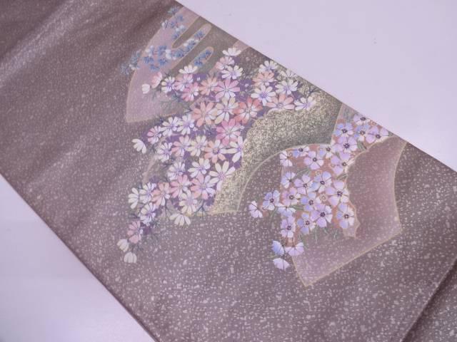 地紙に秋草模様刺繍袋帯【リサイクル】【中古】