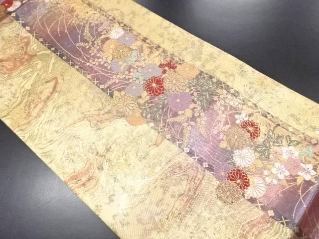 本金墨流しに菊模様織り出し袋帯【リサイクル】【中古】