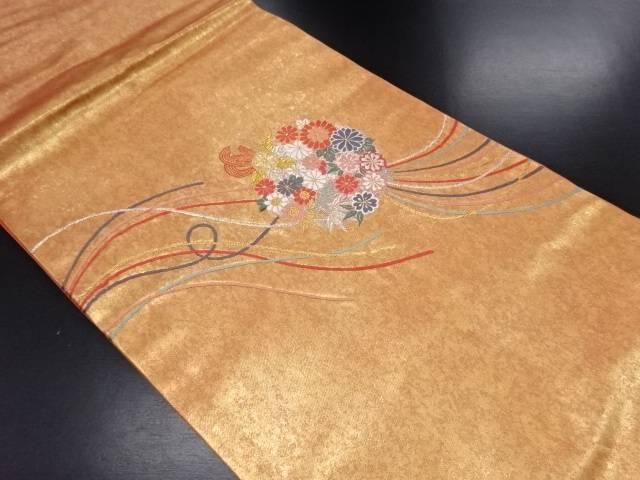 青銅箔 花薬玉模様織り出し名古屋帯【リサイクル】【中古】