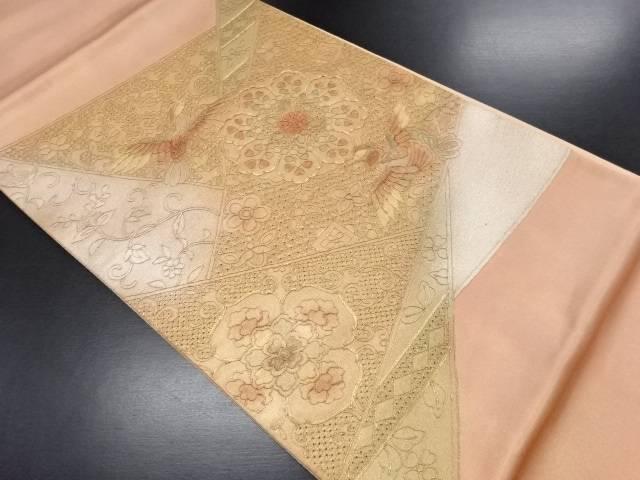 未使用品 汕頭蘇州刺繍華紋に鳥模様袋帯【リサイクル】【中古】