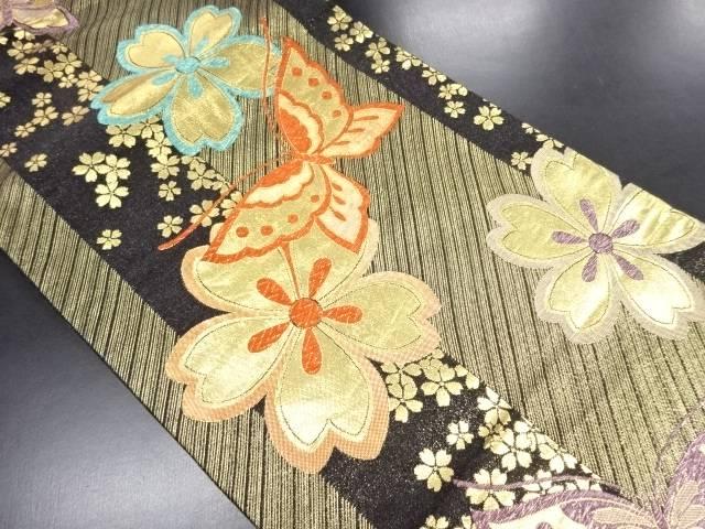 金糸桜に蝶模様織り出し袋帯【リサイクル】【中古】