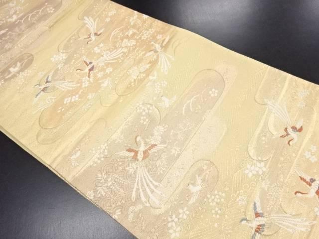 金糸ヱ霞に尾長鳥模様織出袋帯【リサイクル】【中古】