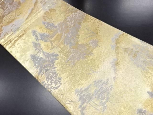 未使用品 本金樹木に寺院模様織り出し袋帯【リサイクル】【中古】