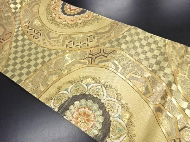金糸華紋に古典柄織り出し袋帯【リサイクル】【中古】