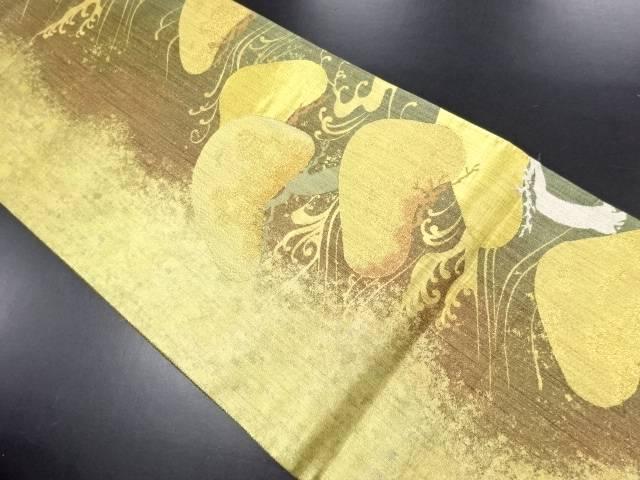 本金波に松模様織り出し袋帯【リサイクル】【中古】