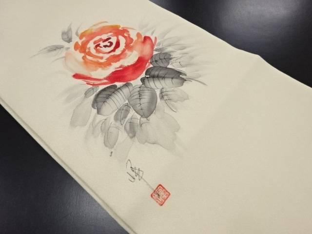 未使用品 作家物 銀通し 手描き薔薇模様名古屋帯【リサイクル】【中古】