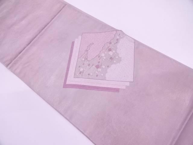 重ね色紙に雲模様刺繍袋帯【リサイクル】【中古】