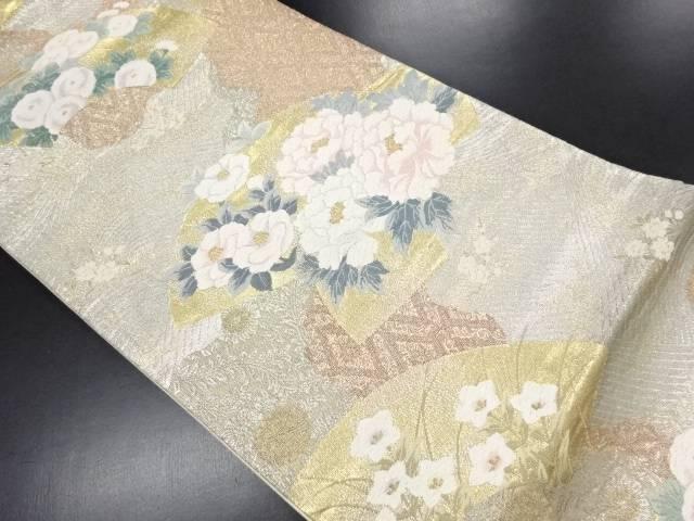 金銀糸扇面に牡丹・菊模様織り出し袋帯【リサイクル】【中古】