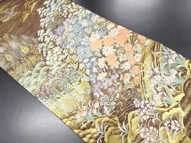 本金遠山に草花橋模様織り出し袋帯【リサイクル】【中古】