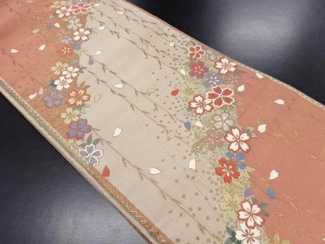 中村児太郎作 本金枝垂れ桜模様織り出し袋帯【リサイクル】【中古】
