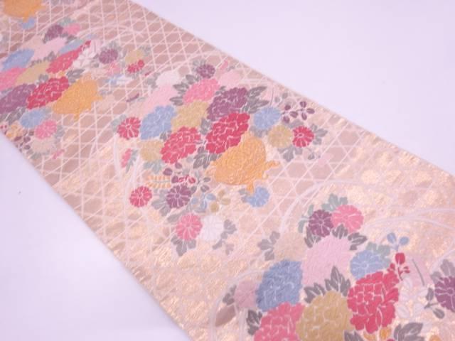 唐織花器に牡丹模様織出し袋帯【リサイクル】【中古】