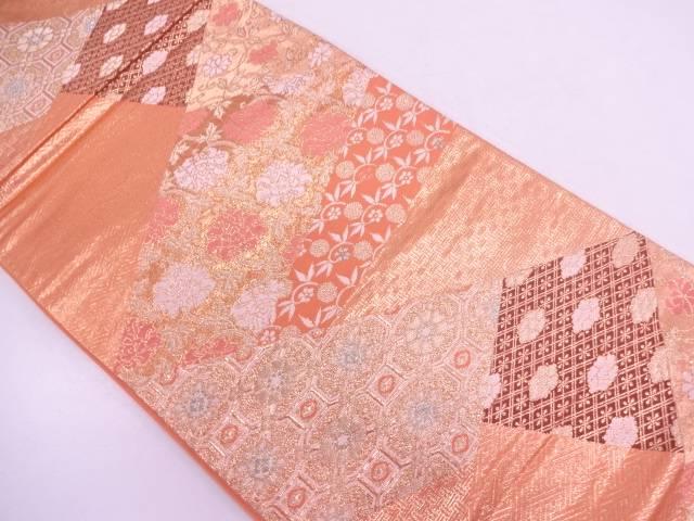 切り嵌め風古典柄に花唐草模様織出し袋帯【リサイクル】【中古】