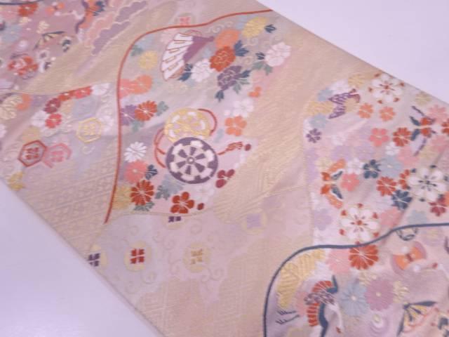 家屋に宝尽くし・檜扇模様織出し袋帯【リサイクル】【中古】