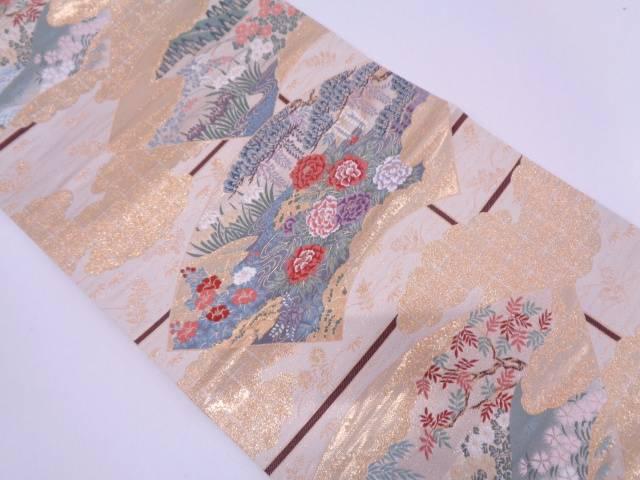 純金箔24K地紙に流水・草花模様織出し袋帯【リサイクル】【中古】