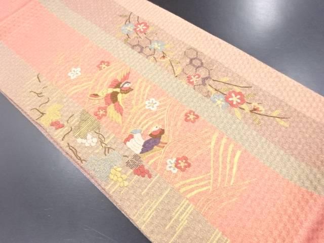 金通し 枝垂れ桜に鴛鴦模様刺繍袋帯【リサイクル】【中古】