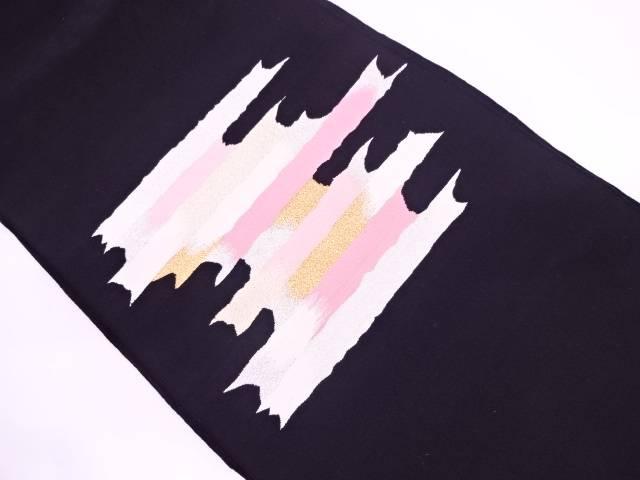 本綴れ抽象模様織出し名古屋帯【リサイクル】【中古】