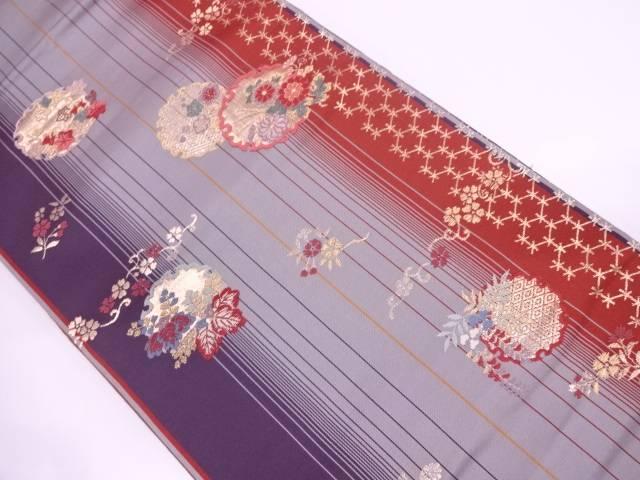 縞に雪輪・草花模様織出し袋帯【リサイクル】【中古】