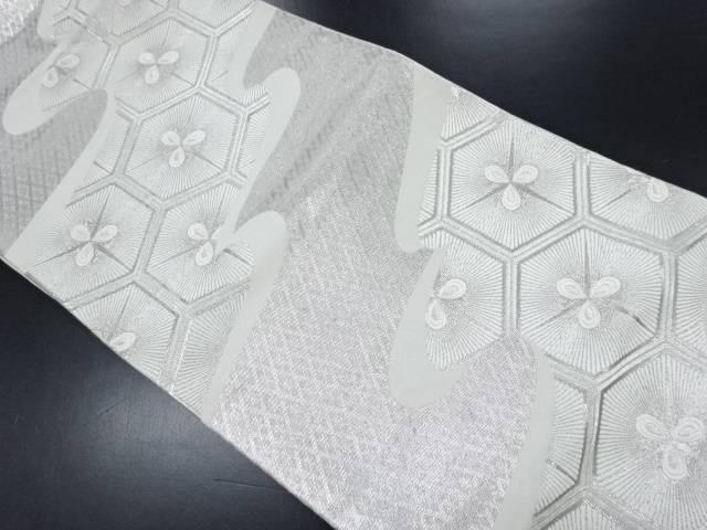 本銀箔霞に変わり亀甲模様織り出し袋帯【リサイクル】【中古】
