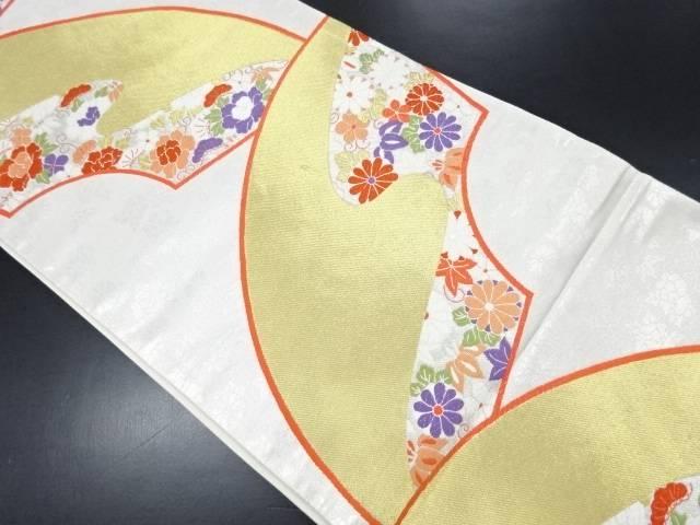 未使用品 金糸地紙に霞・花模様織り出し袋帯【リサイクル】【中古】