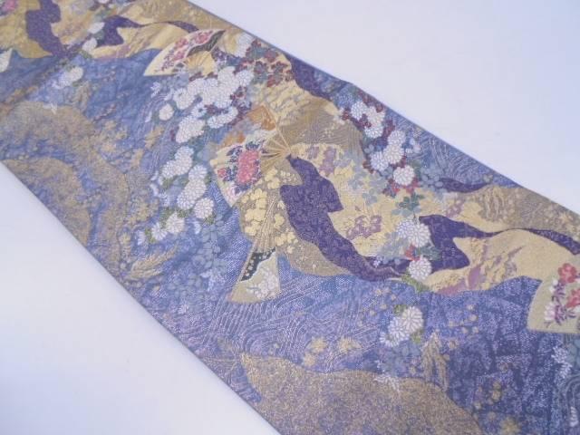 扇に秋草模様織出し袋帯【リサイクル】【中古】