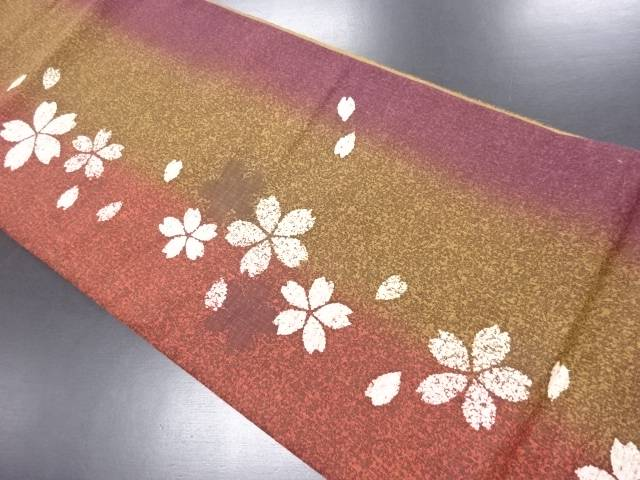 手織り紬 桜ねじり梅模様袋帯【リサイクル】【中古】
