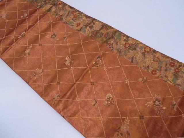 引箔襷に花鳥模様織出し袋帯【リサイクル】【中古】