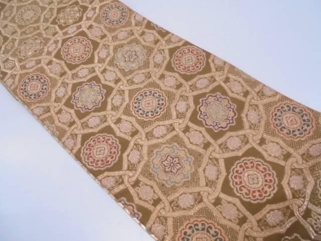 未使用品 花に古典柄・抽象模様織出し袋帯【リサイクル】【中古】