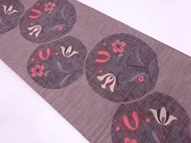 未使用品 丸紋に草花模様織出し袋帯【リサイクル】【中古】