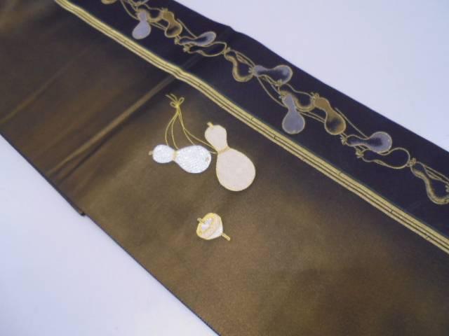 未使用品 竹縞に瓢箪・独楽模様刺繍袋帯【リサイクル】【中古】