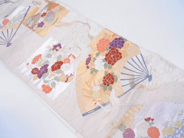 扇に牡丹・鶴模様織出し袋帯【リサイクル】【中古】