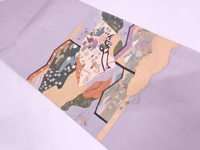 明綴れ屏風に地紙・花車模様織出し名古屋帯【リサイクル】【中古】
