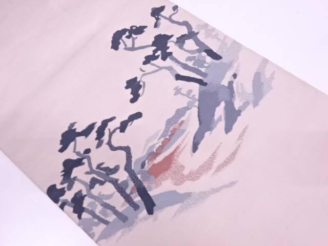 本綴れ樹木風景模様織出し名古屋帯【リサイクル】【中古】