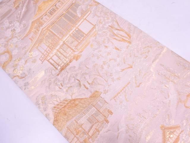 未使用品 屋敷に樹木風景模様織出し袋帯【リサイクル】【中古】