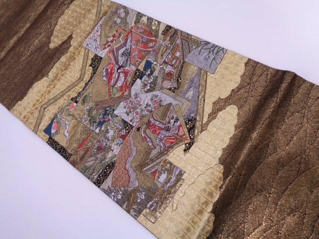 地紙に十二単・草花模様織り出し袋帯【リサイクル】【中古】