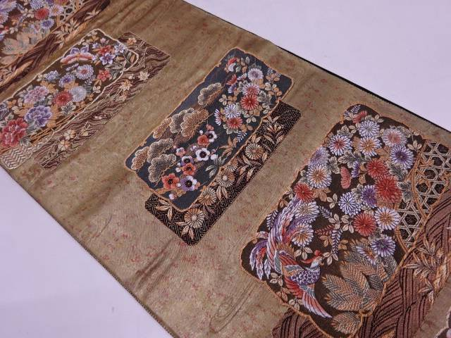 未使用品 引箔九百織松梅に花鳥模様織出し袋帯【リサイクル】【中古】