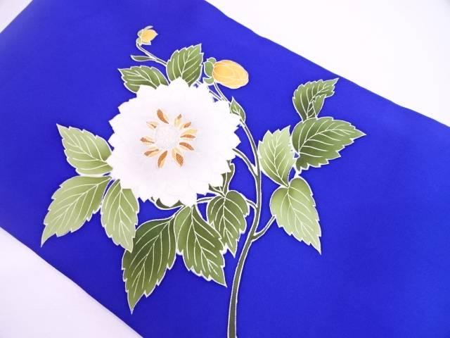 作家物 塩瀬草花模様刺繍名古屋帯【リサイクル】【中古】