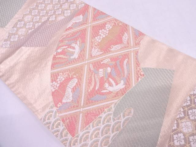 扇面桐竹鳳凰紋様織出し袋帯【リサイクル】【中古】