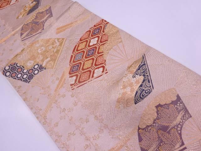 本金箔扇に草花・古典柄模様織出し袋帯【リサイクル】【中古】