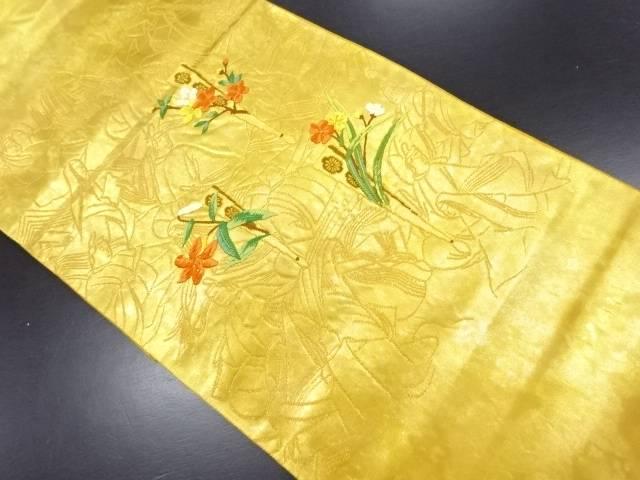 本金扇に草花・平安人物模様織り出し袋帯【リサイクル】【中古】