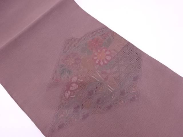 汕頭刺繍破れ松皮菱に草花模様袋帯【リサイクル】【中古】